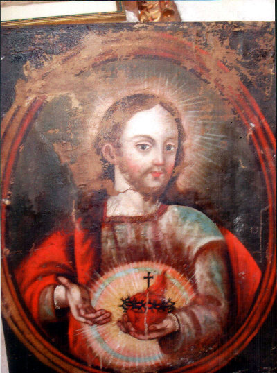 Painting of Jesus before restoration.